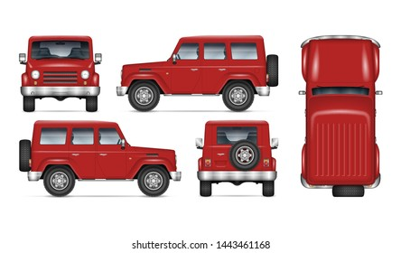 Red SUV car vector mockup for vehicle branding, advertising, corporate identity. Isolated template of realistic offroad truck on white background. All elements in the groups on separate layers