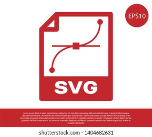 Red SVG file document icon. Download svg button icon isolated on white background. SVG file symbol. Vector Illustration