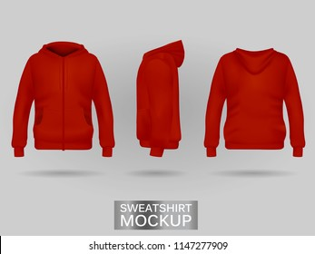 Red sweatshirt hoodie template in three dimensions: front, side and back view, realistic gradient mesh vector. Clothes for sport and urban style