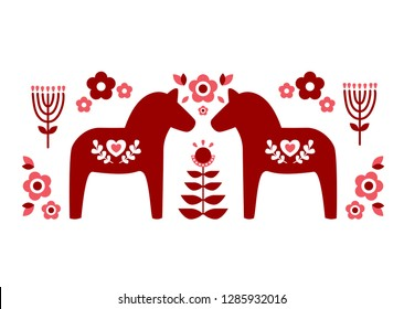 Red Swedish dala horse and red pink floer patterns illustrate vector