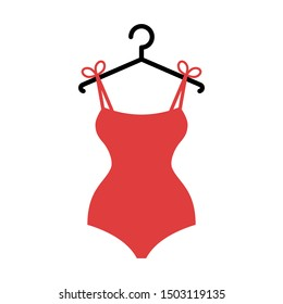 The red swimsuit on a hanger. Isolated vector illustration