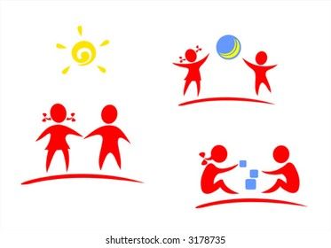 Red symbols of playing children on a white background.