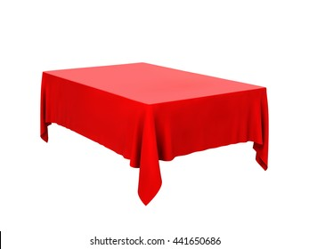 Red tablecloth on table isolated