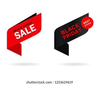 red tag and black friday sale label. modern banner and badges design.