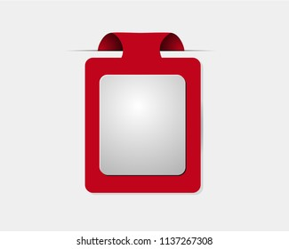 Red tag label. Flat design long shadow icon. Add to basket badge for special message. Vector silhouette symbol isolated on white background