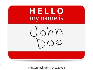 red tag my name is, John Doe