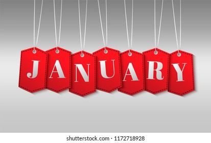 Red tags for sale with the word January. Red tags on a white background. Advertising banner. Vector.