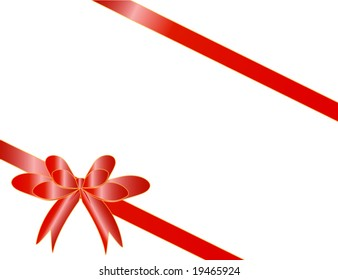 Red tape with a bow packing of a celebratory gift