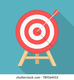 Red target with arrow, flat style, long shadow, vector eps10 illustration