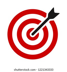 Red target bullseye with arrow or personalized marketing flat vector color icon for apps and websites