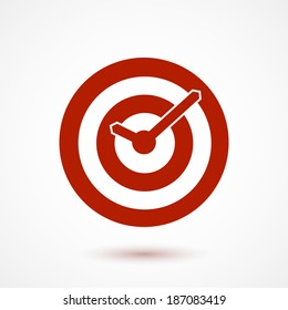 Red target conceptual clock icon. Vector illustration