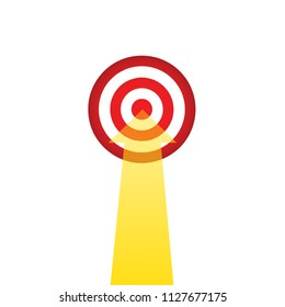 red target with golden arrow, business target concept, stock vector illustration