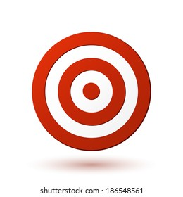 Red target icon. Vector illustration