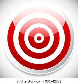 Red target vector icon. Precision, efficiency, effectiveness.