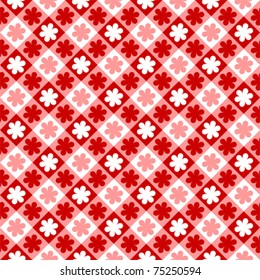Red tartan floral tablecloth pattern