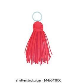 Red tassel from threads. Vector illustration on white background.