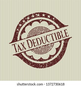 Red Tax Deductible distressed rubber grunge texture stamp
