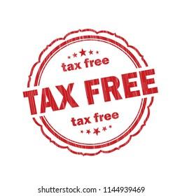 Red Tax free grunge Stamp on white background,Thai design.Vector