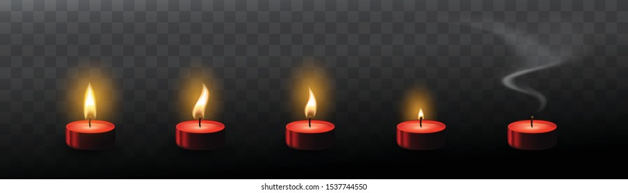 Red tea candles with realistic flare texture isolated on transparent background. Set of 3d vector candle flames and smoke for sprite sheet animation