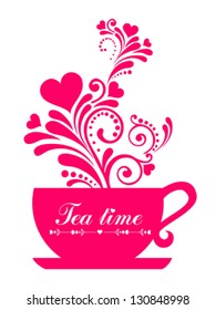Red Tea. Cup with floral design elements  isolated on White background. Vector illustration