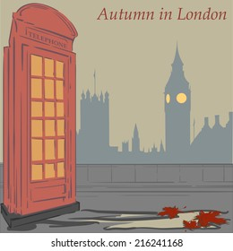 Red Telephone booth - one of most recognizable symbols of London. EPS8 Vector illustration.