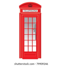 Red telephone box - London - very detailed  isolated vector illustration