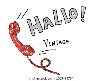 red Telephone Vintage  Retro hand drawn cute art vector illustration