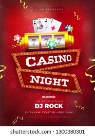 Red template or flyer design with realistic slot machine illustration for Casino Night Party celebration concept.