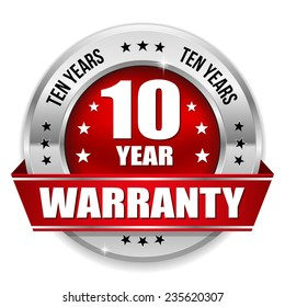 Red ten year warranty badge with metallic border and ribbon