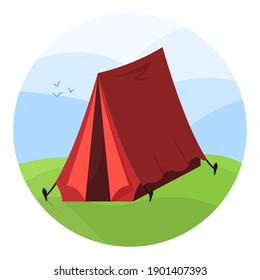 Red tent on the camping place. Hiking trip, recreation at fresh air.