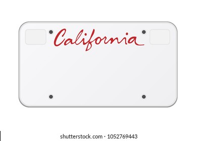 "Red text: ""California"". California car number, American car number. Vector object"