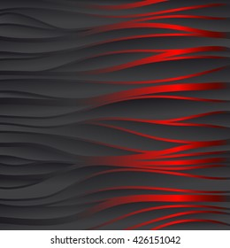 Red texture. Wavy background. Interior wall decoration. 3D Vector panel pattern. Abstract lines.
