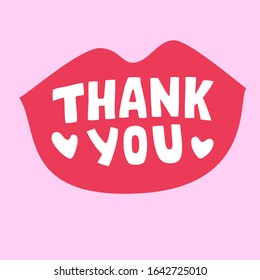 red thank you lipstic message, retro style