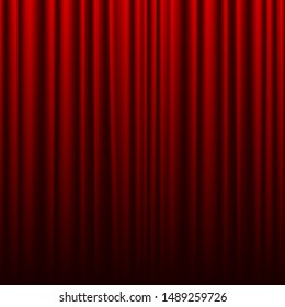 Red theater curtain. Background for banner or poster. Vector