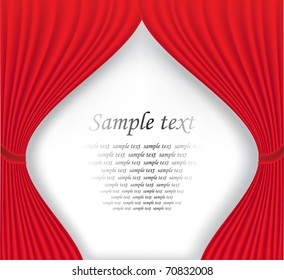 Red theater curtain on white background vector illustration