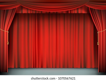 Red theater curtain with the stage. Silk textile art background. Stock vector illustration.