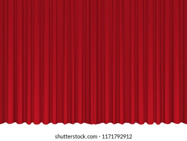 Red theater curtain. Vector illustration.