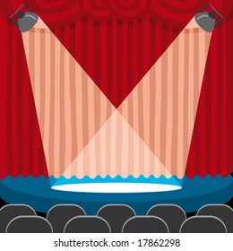 a red theatre curtain with light on the scene