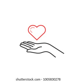 red thin line heart on woman hand. contour flat style trend logotype graphic art design isolated on white background. concept of nonprofit organization symbol or man stroke arm like marriage proposal
