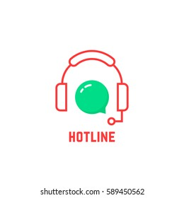 red thin line hotline icon. concept of internet advice, crm, feedback contact, secretary, client care, callback, experience. flat outline style trend modern graphic logotype design on white background