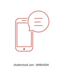 red thin line smart phone like messaging. concept of traffic, voicemail, sms, notice, dialogue, e-mail, inbox. isolated on white background. flat style trend modern logotype design vector illustration