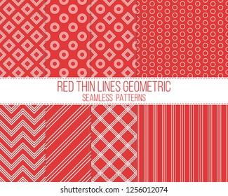 red thin lines geometric seamless patterns set
