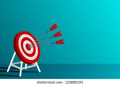 red three arrows darts in target circle. business success goal. on background blue. creative idea. leadership. cartoon vector illustration