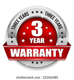 Red three year warranty badge with metallic border and ribbon