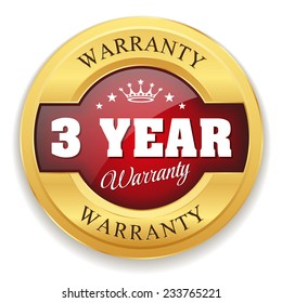 Red three year warranty badge with gold border on white background