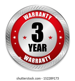 Red three year warranty button