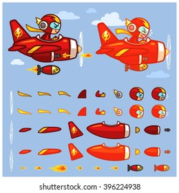 Red Thunder Plane Game Sprites Red Thunder Plane game sprites for side scrolling action adventure endless runner 2D mobile game.