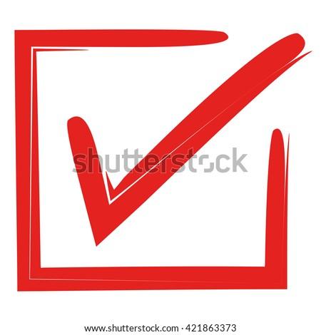 Red Tick Red Check Mark Tick Stock Vektorgrafik Lizenzfrei