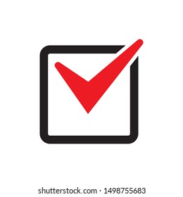Red tick icon vector symbol, checkmark isolated on white background, checked icon or correct choice sign, check mark or checkbox pictogram
