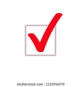 Red tick or marker checkmark vector icon for checkbox symbol in square box